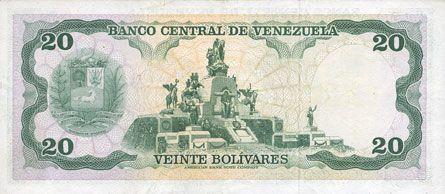 Banknotes Vénézuela. Banque Centrale. Billet. 20 bolivares 7.6.1977