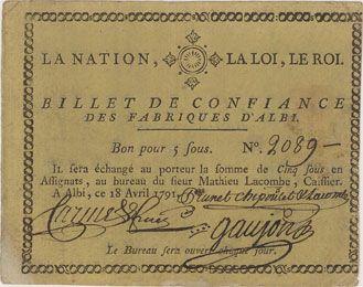 Banknotes Albi. Fabriques. Billet de confiance de 5 sous 18.4.1791