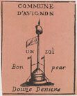 Banknotes Avignon. Commune. Bon pour 1 sol 12 deniers. FAUX