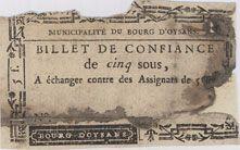 Banknotes Bourg d'Oysans. Billet de confiance de 5 sous n. d.