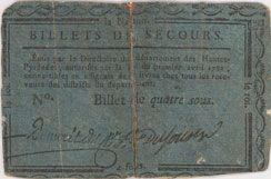 Banknotes Hautes Pyrénées. Billet de 4 sous n. d.
