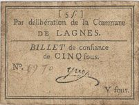 Banknotes Lagnes. Billet de confiance de 5 sous n. d.