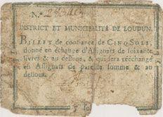 Banknotes Loudun. Billet de confiance de 5 sols n. d.