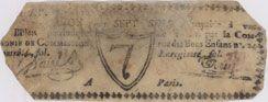 Banknotes Paris. Compagnie de Commission. Bon pour 7 sols n. d.