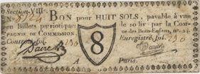 Banknotes Paris. Compagnie de Commission. Bon pour 8 sols n. d.