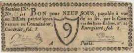 Banknotes Paris. Compagnie de Commission. Bon pour 9 sous n. d.