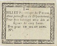 Banknotes Pezenas. Bon pour 1 sol 6 deniers n. d.
