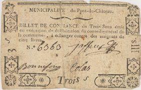 Banknotes Pont-du-Château. Billet de confiance de 3 sous n. d., 3 signatures