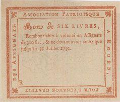 Banknotes Rouen. Bon de 6 livres du 31.7.1792, non émis