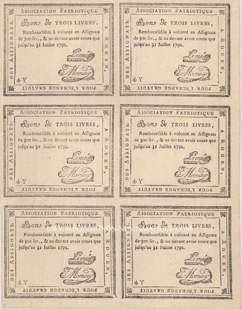 Banknotes Rouen. Planche de 6 bon de 3 livres du 31.7.1792