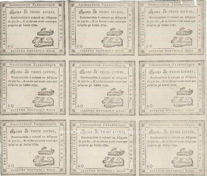 Banknotes Rouen. Planche de 9 bon de 3 livres du 31.7.1792
