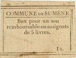 Banknotes Sumène. Bon pour 1 sou n. d.