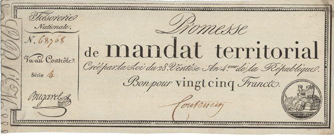 Banknotes Promesse de mandat territorial. 25 francs. 28 ventôse an 4. A