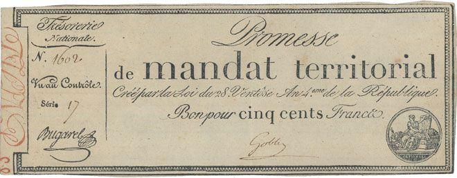 Banknotes Promesse de mandat territorial. 500 francs. 28 ventôse an 4. Avec le mot série