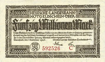 Billets Allemagne. Hessische Landesbank. Darmstadt 1923. Billet. 50 millions mark, série C, 1.9.1923