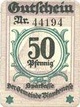 Billets Blankenes. Gemeindesparkasse. Billet. 50 pf 15.8.1919 (nov 1920)