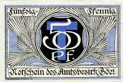 Billets Böel. Amstsbezirk. Billet. 50 pf (1920)