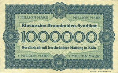 Billets Cologne. Rheinische Braunkohlen-Syndikat G.m.b.H. in Köln. Billet. 1 million mark 1.8.1923, série C