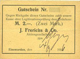 Billets  Einswarden. Frerichswerft. Billet. 2 mark 14.9.1916