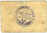 Billets Erbach-Reiskirchen. Gemeinde. Billet. 50 pfennig (1917), au dos, numérotation manuscrite en noir...