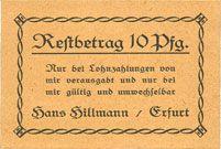 Billets Erfurt. Hans Hillmann. Billet. 10 pfennig (1920)