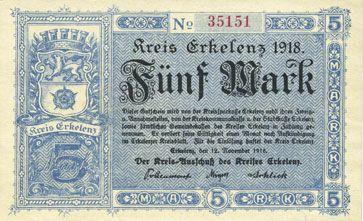 Billets Erlelenz. Kreis. Billet. 5 mark 12.11.1918