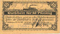 Billets Flensburg. Vereinigte Flensburg-Ekensunder und Sonderburger Dampschiffs-Gesellschaft. Billet. 10 pf
