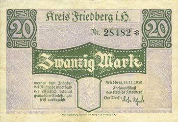 Billets Friedberg. Stadt. Billet. 20 mark 18.11.1918