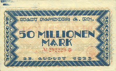 Billets Hamborn. Stadt. Billet. 50 millions mark 25.8.1923