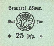 Billets Hassloch. Löwer Joh.. Brauerei und Weinkellerei. Billet. 25 pf, sans cachet ni signature au dos