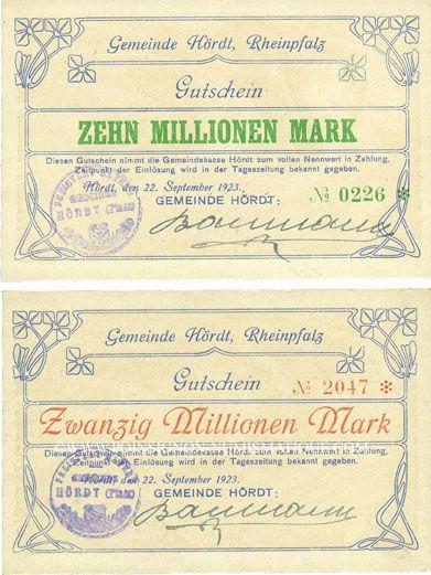 Billets Hordt. Gemeinde. Billets. 10 millions mark, 20 millions mark 22.9.1923