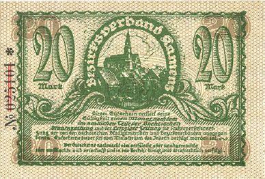 Billets Kamenz. Amtshauptmannschaft. Billet. 20 mark 15.11.1918. Annulation par numérotation barrée en rouge