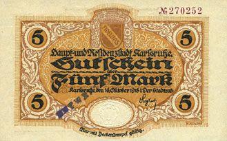 Billets Karlsruhe. Stadt. Billet. 5 mark 16.10.1918. Annulation par cachet ENTWERTET