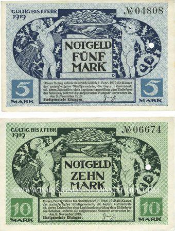 Billets Kitzingen. Stadt. Billets. 5 mark, 10 mark 8.11.1918. Annulation par perforation