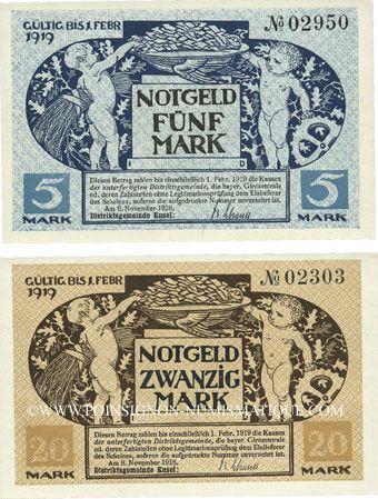 Billets Kusel. Distriktgemeinde. Billets. 5 mark, 20 mark 8.11.1918