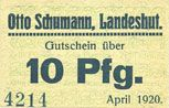 Billets Landeshut (Kamienna Gora, Pologne), O. Schumann, billet, 10 pf avril 1920