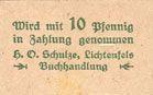 Billets Lichtenfels a. Main, H. O. Schulze Buchhandlung, billet, 10 pf (1920), lettre L