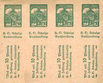 Billets Lichtenfels a. Main, H. O. Schulze Buchhandlung, billet, 10 pf (1920). Page de 8 ex.
