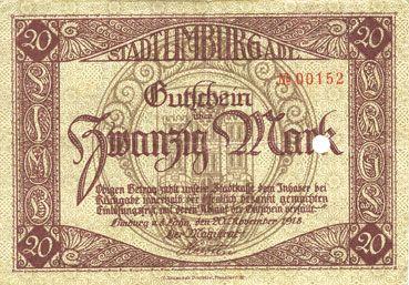 Billets Limburg a. d. Lahn, Stadt, billet, 20 mark 20.11.1918, annulation par perforation
