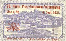 Billets Linz am Rhein, Stadt, billet, 25 pf 1.7.1920, avec surimpression au rev : 25. Rhein Prov.-Feuerwehr