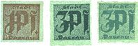 Billets Passau, Stadt, billets, 1 pf, 3 pf (2 variantes) n. d. Carton verdâtre