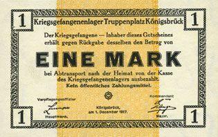 Billets Allemagne. Königsbrück. Kriegsgefangenenlager - Truppenplatz Königsbrück. Billet. 1 mark 1.12.1917