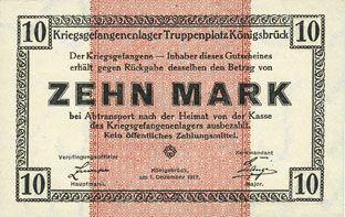 Billets Allemagne. Königsbrück. Kriegsgefangenenlager - Truppenplatz Königsbrück. Billet. 10 mark 1.12.1917