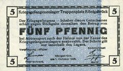 Billets Allemagne. Königsbrück. Kriegsgefangenenlager - Truppenplatz Königsbrück. Billet. 5 pf 1.10.1915