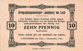 Billets Allemagne. Landsberg. Kriegsgefangenenlager. Billet. 10 pf 1.12.1916