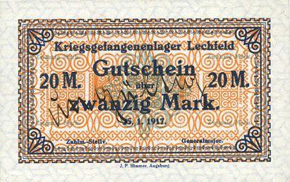 Billets Allemagne. Lechfeld. Kriegsgefangenenlager. Billet. 20 mark 25.1.1917 annulation manuscrite Ungültig
