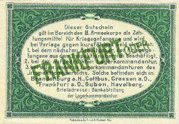 Billets Frankfurt Oder. Inspektion der KGL im Bereich des XIII. Armeekorps. Billet. 25 pf 1.10.1917