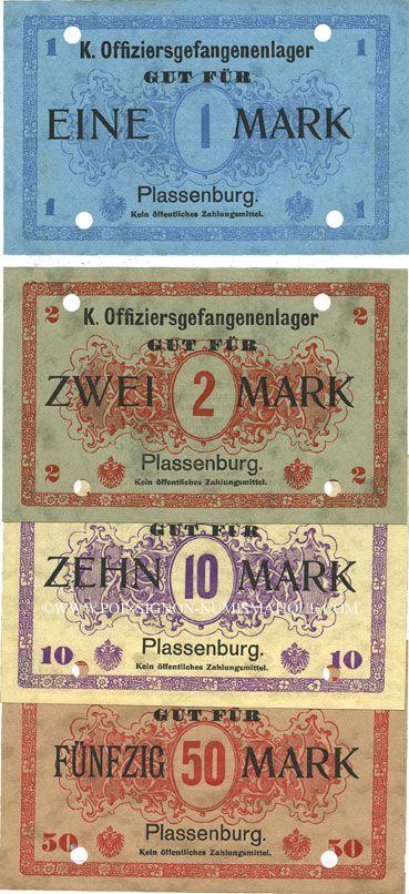 Billets Plassenburg. Offizier- Gefangenenlager. Billets. 1 mk, 2 mk, 10 mk, 50 mk annulation par perforation