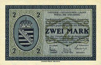 Billets Wiesa bei Annaberg. Offizier- Gefangenenlager. Billet. 2 mark 1.1.1916