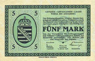 Billets Wiesa bei Annaberg. Offizier- Gefangenenlager. Billet. 5 mark 1.1.1916
